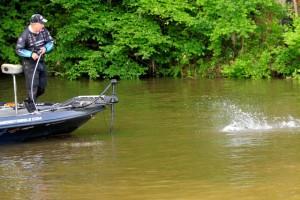 Pete Ponds Battling a West Point Bass - photo by Chris Dutton