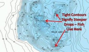 Tight Contour Lines Show Us Where Fish might Be - image courtesy Navionics