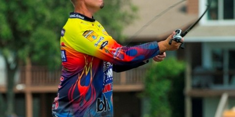 during the Toyota Texas Bass Classic at Lake Conroe in Conroe, Texas on October 4, 2013. (Photo by Jason Miczek)