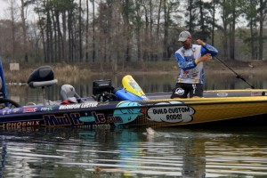 Brandon Lester Battles a Bass - photo courtesy Pro Fishing Management