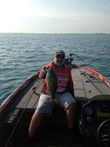 Jamie Horton with a Nice Smallmouth - photo by Elite Series Marshal James Watson