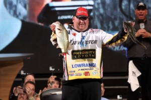 Jacob Powroznik with his two Biggest from Day Three of the 2015 Bassmaster Classic - photo by Dan O'Sullivan