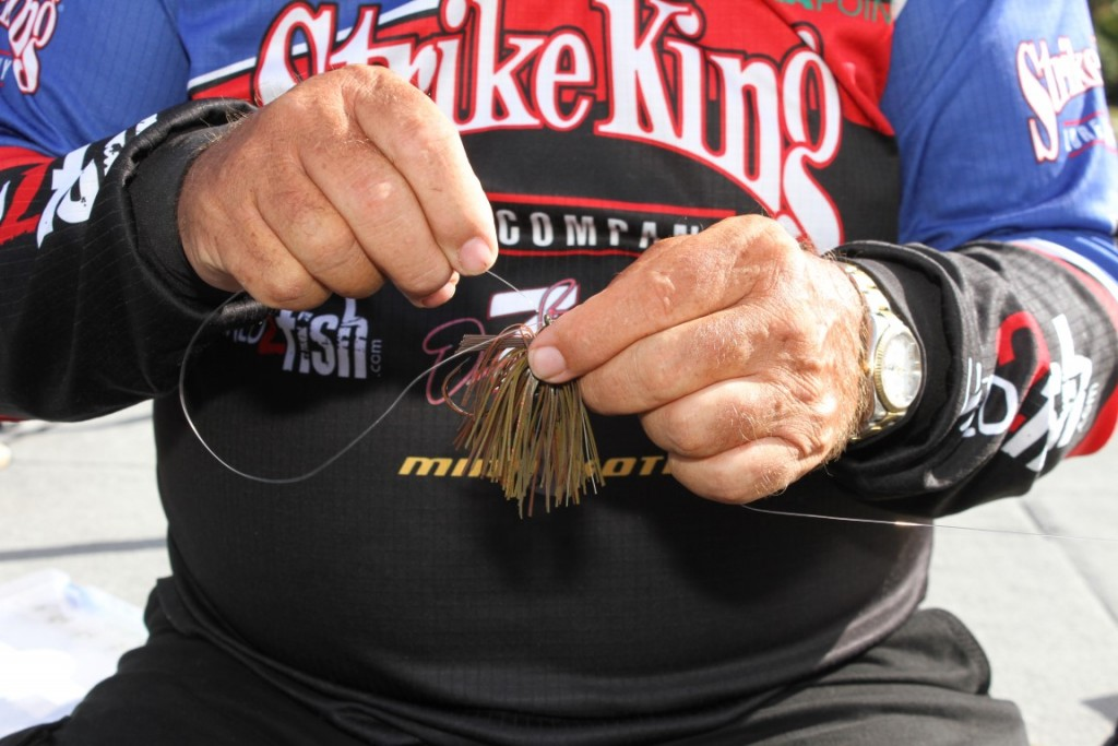 3 Insert the Seaguar Flipin' Fluorocarbon Line Back through the eye of the jig