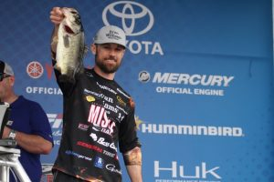 John Crews on stage at a Bassmaster Elite Series Event