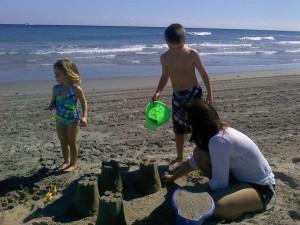 Anne Lefebre and Kids Sandcastles
