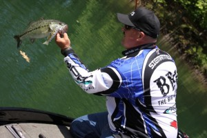 Bill Siemantel Lands a Lake Lanier Spotted Bass on the Six-inch BBZ-1 - photo by Dan O'Sullivan
