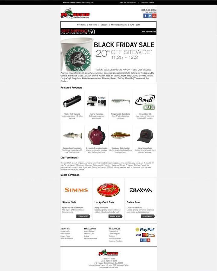 Monster Fishing Tackle Black Friday Sale 2014