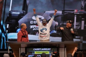 Casey Ashley Reacts to his 20-pound, 3-ounce limit on Day Three - photo by Dan O'Sullivan