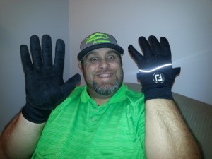 DanO and his Golf Gloves for Winter Fishing - photo by Christina O'Sullivan