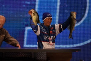 Takahiro Omori with his Biggest Pair from Day Two of the 2015 Bassmaster Classic - photo by Dan O'Sullivan