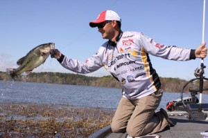 Bassmaster Elite Series Pro Jordan Lee Found this Bass in TOledo Bend's Grass - photo by Dan O'Sullivan