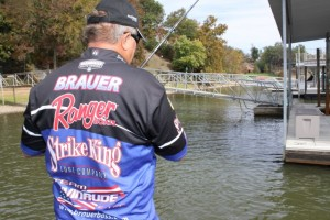 Denny Brauer Fishing the Back Side of a Dock - photo by Dan O'Sullivan