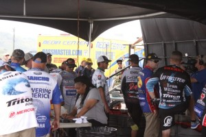 Elite Series Pros Backstage at Lake Guntersville - photo by Dan O'Sullivan