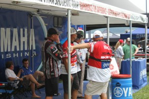 Professional Anglers Working the Yamaha Booth at BASSfest - photo by Dan O'Sullivan