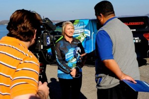 Doing a interview with Channel 31 before the Bassmaster Classic
