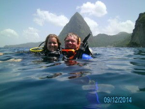 Marylynn and I diving at the Piton Mountains in St. Lucia