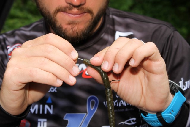 24 Seaguar Hookpoints Stetson Blaylock Wacky Rigged Stickbait - Insert Half of Nail Weight into Head of Senko
