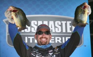 Ott DeFoe of Knoxville, Tenn., maintains the lead on the third day of the Plano Bassmaster Elite at Mississippi River presented by Favorite Fishing, bringing 16 pounds, 7 ounces to the scales on Saturday for a three-day total weight of 51-9.  Photo by Gary Tramontina/Bassmaster